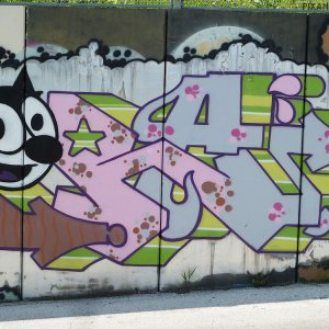 Graffiti felix cat street art Pise Italie