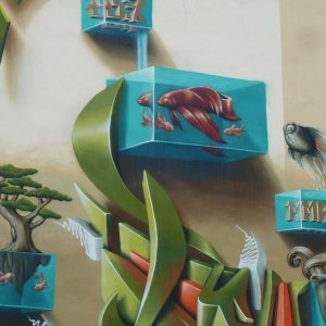 Fresque street art Montpellier poissons aquarium Quai du Verdanson