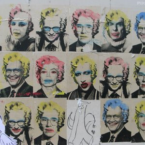 Collage andy Warhol Michael Jackson spock marilyn manson britney spears street art Paris